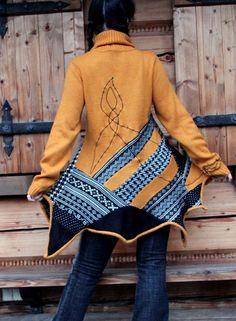 Crazy recycled sweater tunic hippie boho folk style by jamfashion