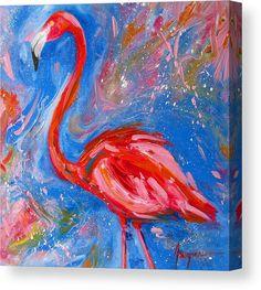 Florida Pink Flamingo - Modern Impressionist Art Canvas Print / Canvas Art by Patricia Awapara Flamingo Painting, Flamingo Art, Pink Flamingos, Beach Artwork, Impressionist Art, Preschool Art, Bird Art, Painting Inspiration, Art Inspo