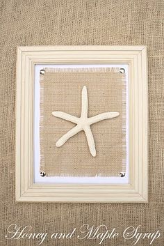 Thumb Tack + Jute/Burlap +  Picture Frame = beach wall art  - @Honey and Maple Syrup