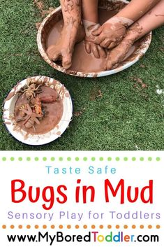 Bugs in Mud messy play for toddlers - taste safe oobleck mud - so much fun! A great sensory bin for babies and toddlers Sensory Activities Toddlers, Baby Sensory, Spring Activities, Sensory Bins, Sensory Play, Infant Activities, Sensory Table, Family Activities, Sensory Bottles
