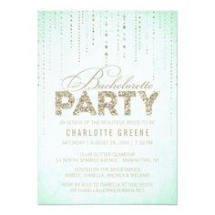 mint gold glitter look bachelorette party invitation