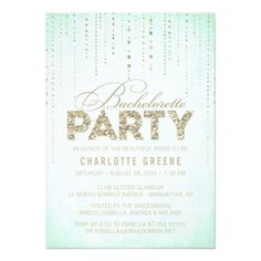 Mint and Gold Glitter Look Bachelorette Party Card