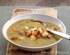 Split Pea and Ham Soup with Homemade Croutons