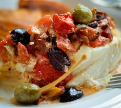 Greek-style Baked Fish with Feta, Capers and Olives ~ Recipe Baked Cod Recipes, Egg Free Recipes, Fish Recipes, Seafood Recipes, Olive Recipes, Greek Recipes, Clean Eating Recipes, Cooking Recipes, Eating Healthy