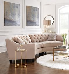 This curved sectional is great for conversations. HomeDecorators.com