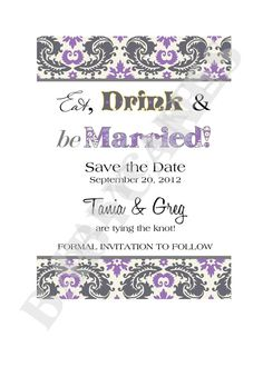 Save the Date or Bridal Shower Invitation Purple by jcbabycakes, $10.00