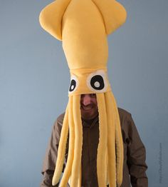 Giant Squid Fleece Hat - Yellow