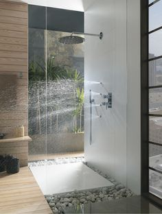modern shower fixtures on other side of wall - Google Search