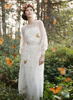 English Garden Inspiration with a Claire Pettibone Dress and butterflies!