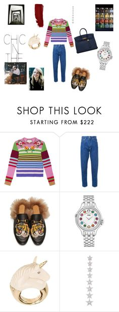 """Rainbows in my eyes"" by maria-chamourlidou ❤ liked on Polyvore featuring Gucci, CITYSHOP, Hermès, Cannella, Fendi, BIBI VAN DER VELDEN and Elise Dray"