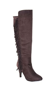 G.C. Shoes Women's Dixie Brown Fringed Knee High Boot 7.5 Medium (B, M) US #GCShoes #KneeHighBoots