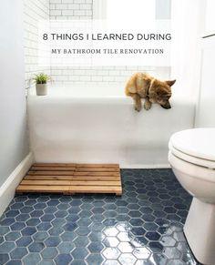Bathroom decor for your bathroom renovation. Learn bathroom organization, bathroom decor suggestions, bathroom tile tips, master bathroom paint colors, and much more. Bathroom Floor Tiles, Bathroom Renos, Bathroom Ideas, Bathroom Organization, Tile For Small Bathroom, Ceramic Tile Bathrooms, Remodel Bathroom, Bathroom Designs, Budget Bathroom