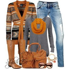 Jean Outfits for Women by Stylish Eve - I love the colors in this one, and it has just a touch of Native American design in there. Really love those boots!!!
