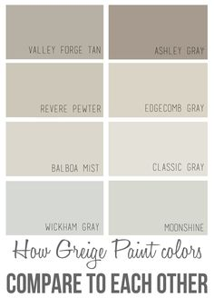 Perfect Wall Color + How Greige Colors Compare to Each Other The best Benjamin Moore greige paint colors and how they compare to each other.The best Benjamin Moore greige paint colors and how they compare to each other. Greige Paint Colors, Interior Paint Colors, Paint Colors For Home, House Colors, Interior Design, Paint Colours, Best Neutral Paint Colors, Interior Painting, Griege Paint