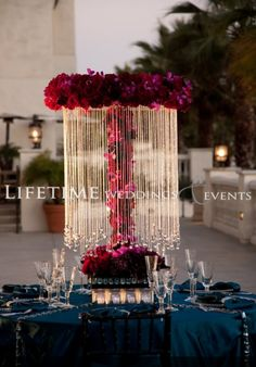 Floral crystal centerpiece- roses, red, pink, burgundy #centerpiece #fullcircleeventi
