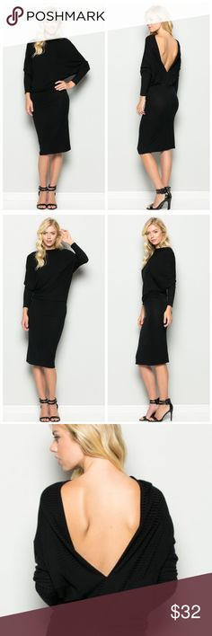 ❗️LAST ONE❗️ Alyna  Backless Dress Gorgeous, soft, and classically sexy. This dolman sleeve, boat neck dress is perfect for an evening out and so sexy with the plunge v-back! Material is 95% Rayon and 5% Spandex. Made in USA. VegaBoutique Dresses Backless