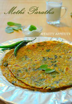 Tasty Appetite: METHI PARATHA / FENUGREEK PARATHA RECIPE / STEP BY STEP Methi Recipes, Veg Recipes, Indian Food Recipes, Great Recipes, Cooking Recipes, Nutritious Breakfast, Recipe Steps, Breakfast Dishes