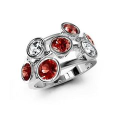 Sterling Silver Mexican Fire Opal Ring with Rock Crystal - Haight Iconic Cocktail Ring Jewelry by