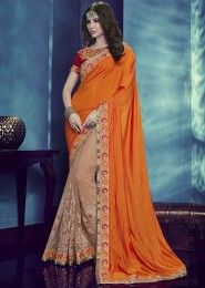 Designer Orange And Beige Colored Silk And Net Saree
