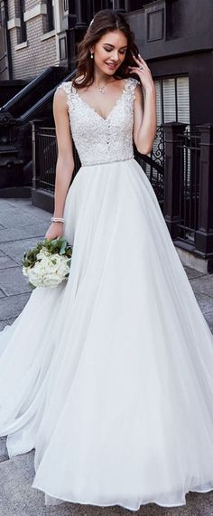 Charming Tulle Wedding Dress Chiffon V-neck Wedding Dress Ne.- Charming Tulle Wedding Dress Chiffon V-neck Wedding Dress Neckline Natural Waistline A-line Wedding Dress With Beaded Lace Appliques - Wedding Dress Chiffon, Wedding Dress Necklines, Top Wedding Dresses, Applique Wedding Dress, Wedding Dress Trends, Necklines For Dresses, Perfect Wedding Dress, Bridal Dresses, Wedding Gowns