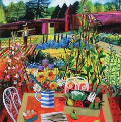 Mary Sumner's The Kitchen Garden . A blank greeting card featuring a sunny garden scene with scarecrow, birds and flowers and fruit. Greeting Card Art, Flower Art, Naive Art, Painting, Illustration Art, Art, Creative Art, Garden Art, Altered Art