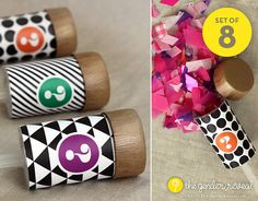 Confetti Push-Pop Revealers for Gender Reveal Parties - Set of 8