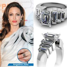 Brad Pitt presented Angelina Jolie with a celebrity engagement #ring as stunning as the famous couple themselves. Pitt co-designed the Art Deco-inspired ring with jeweler Robert Procop, which features a 10 carat #diamond that Pitt had cut to fit to the shape and size of his wife-to-be's hand.