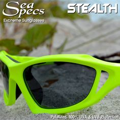 739b779141c SeaSpecs.com Stealth Extreme Water Sports Sunglasses. Impact resistant -  Polarized UV 400 - Integrated Strap - Venting to reduce fog. 3rd Pair is  Free!