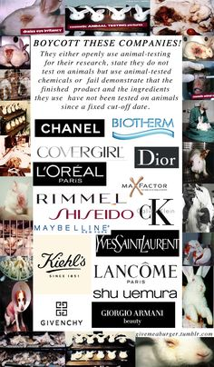 Think about animal testing and where your products come from!