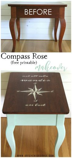 Do this! Compass Rose End Table Makeover AND FREE Downloadable Graphic! (with Dixie Belle Paint) artsychicksrule.com #dixiebellepaint #coastalstyle #coastaldecor #coastalfurniture