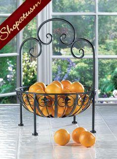 Standing Metal Bowl Fleur De Lis Fruit Storage Bowl