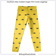 She will look fashionable and cheerful in our Southern Miss Golden Eagle Print Gold Leggings An Officially Licenses product by Vive La Fete Style: Soft and stretchy Elastic waist Southern Miss Golden Eagles, Gold Leggings, Eagle Print, Elastic Waist, Pajama Pants, Collection, Style, Fashion, Swag
