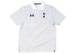 Tottenham Hotspur White Polo Shirt 2012/13 by Under Armour. $48.37. The Tottenham Hotspur White Polo Shirt 2012/13 has been released and is a new design for this season. The shirt is a traditional short sleeved polo shirt with a raised collar and short sleeves. It is white in colour with navy blue horizontal stripes. The shirt features three smart white buttons and the club crest and Under Armour logo are neatly embroidered across the chest. The polo shirt has been...
