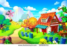 Creative Illustration and Innovative Art: Background Set: Peaceful Place in the Colorful Wonder Land. Realistic Fantastic Cartoon Style Artwork Scene, Wallpaper, Story Background, Card Design