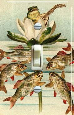 KOI and FROG Vintage Switch Plate single by VintageSwitchPlates, $12.00