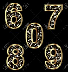 Illustration of Gold numbers with swirly ornaments 2 vector art, clipart and stock vectors. Alphabet Images, Alphabet And Numbers, Bild Gold, Caligraphy Alphabet, Banner Clip Art, Certificate Background, Lotus Flower Art, Golden Number, Stylish Alphabets