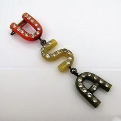 WWII Patriotic USA Bakelite Dangling Brooch. Rhinestone Bakelite Figural Jewelry. Patriotic Lapel Pin. 1940s Era Genuine Bakelite Jewelry.