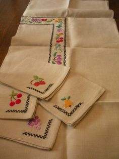 Awesome Vintage Card Table Sized Linen by WhereTheRoosterCrows, $22.00