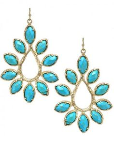 I want these-Nyla Starburst Earrings in Turquoise. #kendrascott