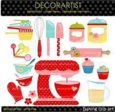 Baking clip art , Digital clip art for all use, Kitchen,bakers, Mixer,cooking,clip art, INSTANT DOWNLOAD on Etsy, $4.50