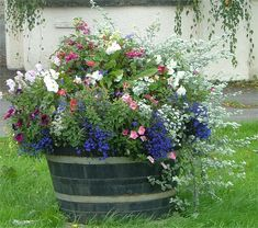 Whisky Barrel Planter Whisky Barrel Planter,Deko Whiskey Barrel Planter with Wildflowers Related posts:- - - Age appropriat.How to Make a Magical Fairy Castle Out of Plastic Bottles - Garden Crafty. Container Flowers, Flower Planters, Container Plants, Garden Planters, Container Gardening, Flower Pots, Whiskey Barrel Planter, Barrel Flowers, Wild Flowers