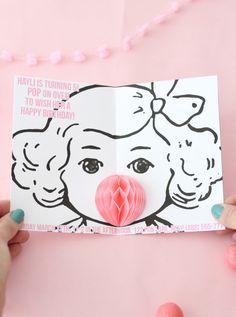 DIY honeycomb bubble gum party invitations via ajoyfulriot.com @ajoyfulriot