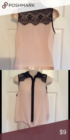 Blush and black lace sheer sleeveless blouse In excellent condition. Only worn once. No flaws. Forever 21 Tops Blouses