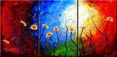 The Daisy Dance oil painting on canvas high acrylic 3 panel wall art