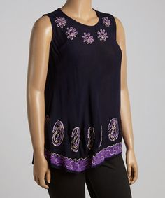 Look what I found on #zulily! Black & Purple Floral Embroidered Tank - Plus #zulilyfinds