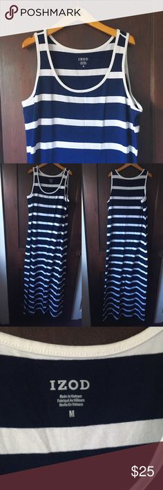 IZOD   Nautical navy & white maxi dress This maxi dress is NWOT and perfect for a comfy, casual weekend! Similar to styles sold this summer at J. Crew and Everlane. Never worn. No trades or PayPal. First photo is of a very similar dress for a styling idea! Actual dress in photos 2 and 3. Izod Dresses Maxi