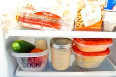 "Create an ""Eat Soon"" box in your fridge to prevent food waste 