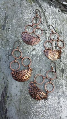 Acid etched copper earrings, by Kopper Krush