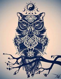 Идеи для эскизов татуировки: сова #2 тату, эскиз, арт, сова, длиннопост, филин