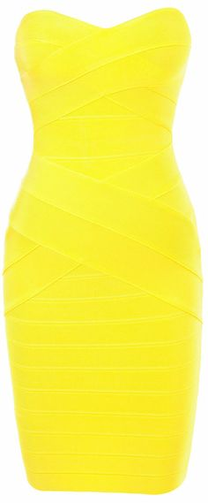 Bright yellow strapless dress £100 from Celeb Boutique on Snap Fashion